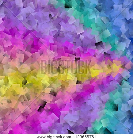Abstract  gradients coloring background with mosaic,lens distortion and cubism effect