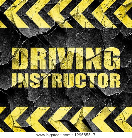 driving instructor, black and yellow rough hazard stripes
