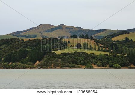 View from Barrys Bay. Landscape on the Banks Peninsula New Zealand.