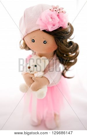 Rag Doll Textile Handmade With Natural Hair