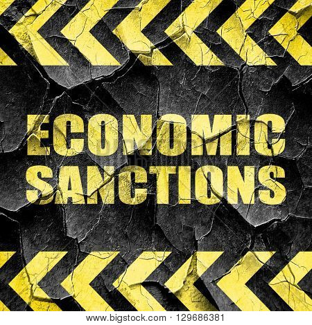 economic sanctions, black and yellow rough hazard stripes