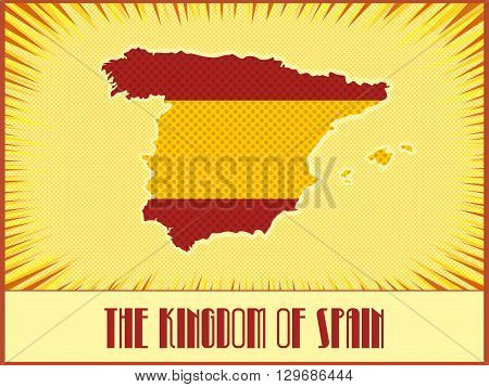 Vector map of Spain in colors of the official Spanish flag made in retro style with Ben-Day dots. With transparency and blending modes.