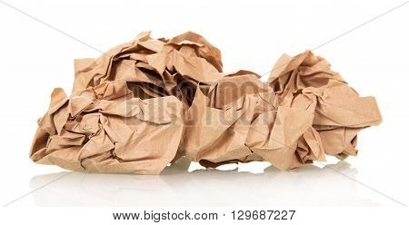 Crumpled wrapping paper isolated on white background