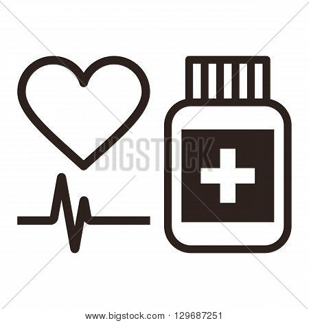 Medicine heart and ecg symbol isolated on white background