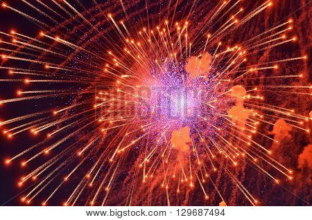 scatters red lights fireworks in the night sky