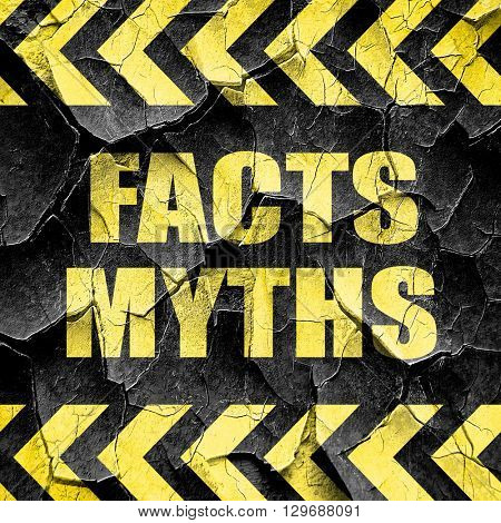 facts myths, black and yellow rough hazard stripes