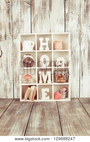 Shadow box with wooden letters home and cozy things