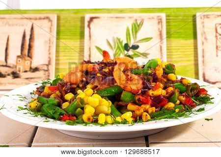 Hot salad with shrimp corn green beans red onion, stewed fried Italian kitchen, tiles, Provence vegetable stew
