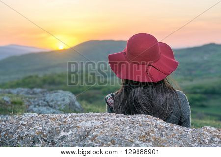 Female Hiker Enjoying Sunset