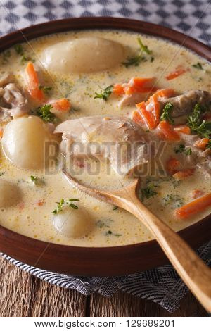 Belgian Waterzooi Soup With Chicken Close Up In A Bowl. Vertical