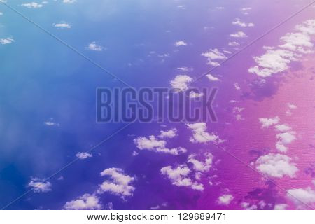 Clouds Over Crete Sea, Aerial View, Greece