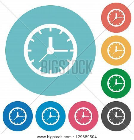 Flat clock icon set on round color background.