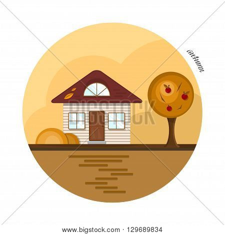 Vector flat house in autumn season. A beige house with a dark red roof, two casual windows and an attic window. With an apple tree, red apples and orange bushes. The shadows made with transparencies.