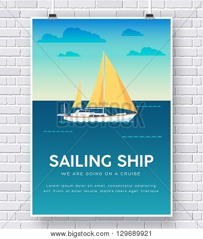 Yacht on water illustration on brick wall background concept design