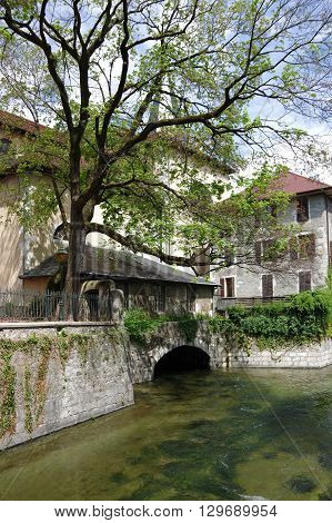 View of the canal in city centre of Annecy capital of Haute Savoie province in France. Annecy is known to be called the French Venice