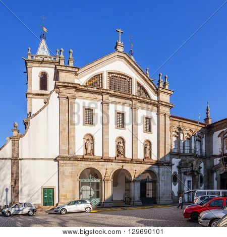 Santo Tirso, Portugal. December 22, 2015: Facade of the S. Bento monastery. Benedictine order. Built in the Gothic (cloister) and Baroque (church) style.