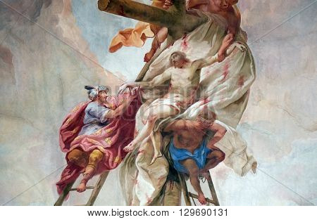ZIEMETSHAUSEN, GERMANY - JUNE 09: Deposition from the Cross, fresco on the ceiling of the Maria Vesperbild Church in Ziemetshausen, Germany on June 09, 2015.