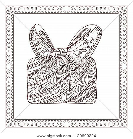 Ornamental fancy box with frame. Zentangle style. Page for coloring book.