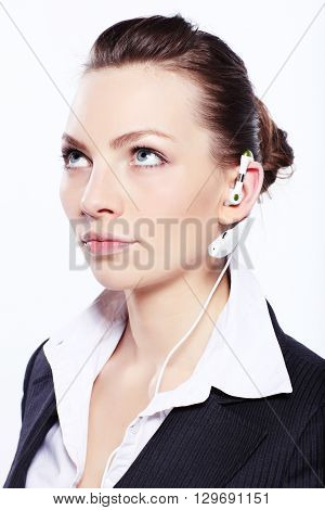 Beautiful business woman in black classic business suit