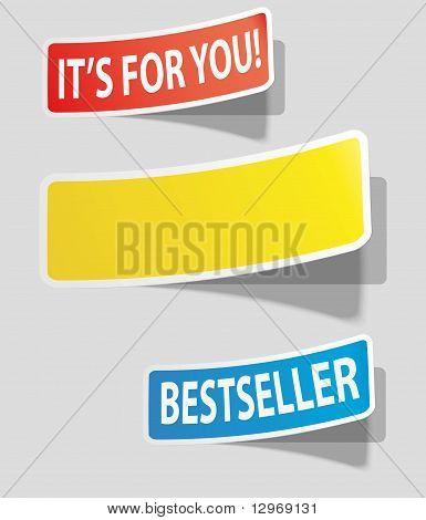 Three realistic colorful sticker