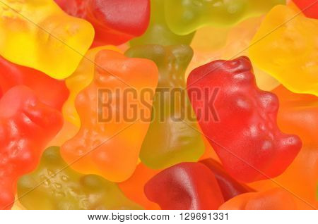 CIRCA MARCH 2016 - GDANSK: Closeup of colorful Haribo gummy bears. Haribo is German confectionery company founded in 1920. It is one of the biggest manufacturers of gummy and jelly sweets in the world