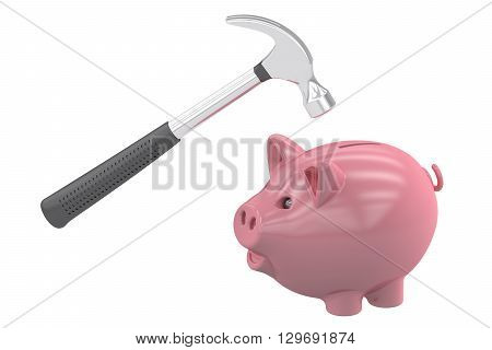 Piggybank and hammer 3D rendering isolated on white background