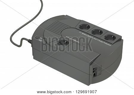 Uninterruptible power supply UPS. 3D rendering isolated on white background