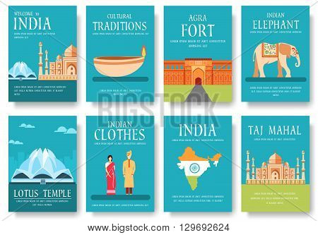 Country India travel vacation guide of goods, places and features. Set of architecture, fashion, people, items, nature background concept.  Infographic template for web and mobile on flat style