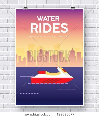 Water Scooter illustration on brick wall background concept design