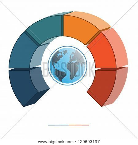 Template infographics business concept coloured parts semicircle and globe numbered for six positions options parts or processes. 3D illustration.