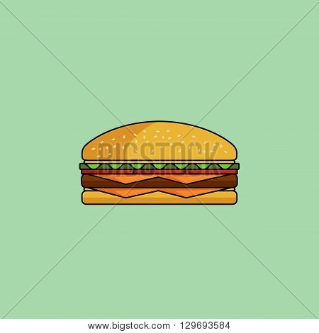 Cute cartoon cheeseburger with double cheese. Burger with salad, tomatos, cutlet. Minimal line style, modern color. Burger/gamburger web icon. Design element for your project. Vector illustration, eps 10