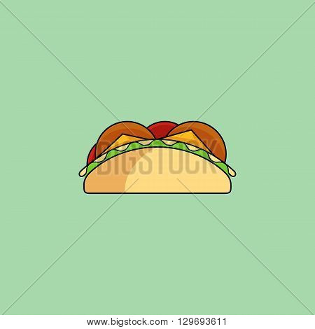 Cute cartoon tacos. Burrito with salad, tomatos, cutlet, meat, cheese, sause.Minimal line style, modern color, flat design. Mexican food thin line icon for web and mobile. Design element for your project. Vector illustration, eps 10