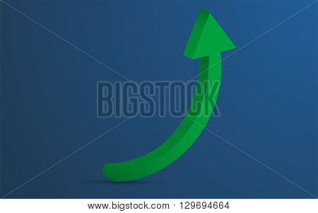 3D rounded green arrow representing growth or profit on blue background ( backdrop ) with barely visible grid. Green rounded arrow pointing up with shadow can be used as infographics element.