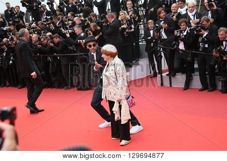 Agnes Varda attends he screening of 'The BFG' at the annual 69th Cannes Film Festival at Palais des Festivals on May 14, 2016 in Cannes, France.
