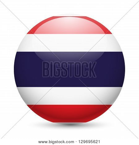 Flag of Thailand as round glossy icon. Button with Thail flag