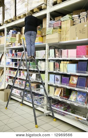 woman on the stepladder on the storage of the paper