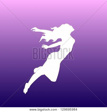vector illustration white silhouette of a girl flying away in the sky