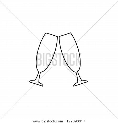 glass beverage black web icon, thin line illustration for mobile app color picture on a white isolated background