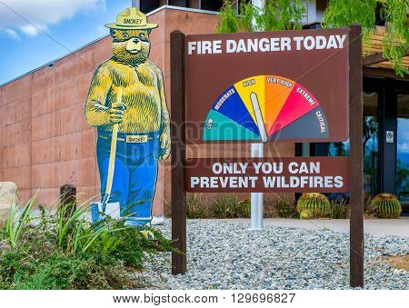 Smokey The Bear And Fire Danger Sign
