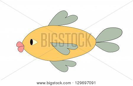Illustration of a funny fish over a white background.
