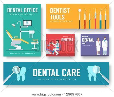 Dental office interior illustration background. Dentist icons concep