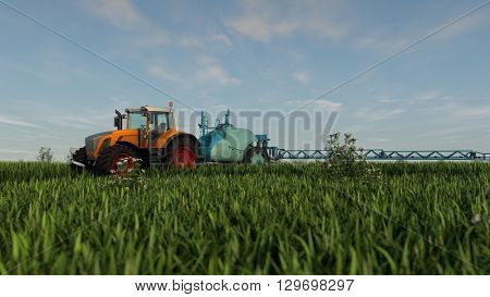 3d illustration of an orange tractor with spray fertilizer