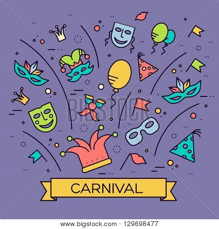 Celebration festival holiday party equipment thin lines illustrationss set. Vector masquerade carnival collection design illustrations