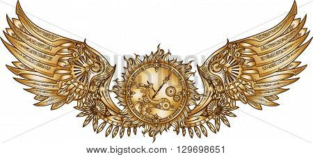 Mechanical wings in steampunk style with clockwork. Gold and black color.