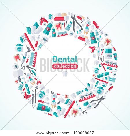 Circle Frame with Dental Flat Icons. Vector illustration for Dentistry and Orthodontics.