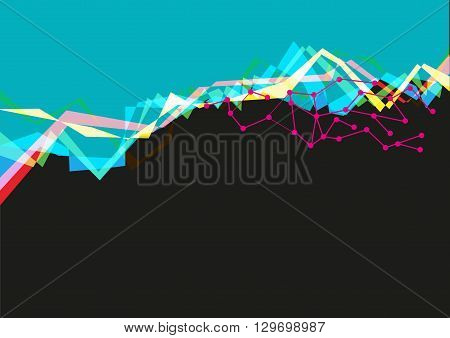 User Interface concept in Aqua and Black with Abstract Waves. Editable Clip Art.