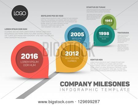 Vector Infographic Company Milestones Timeline Template with retro pointers