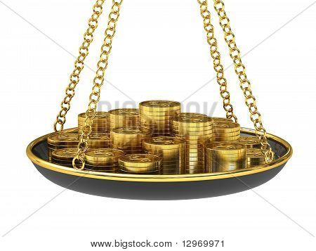 Gold coins on the scales.