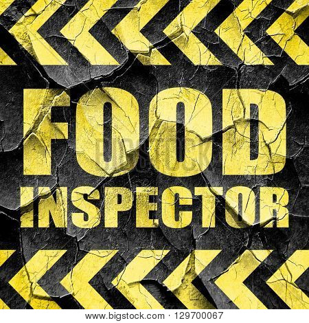 food inspector, black and yellow rough hazard stripes