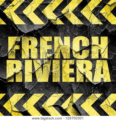 french riviera, black and yellow rough hazard stripes